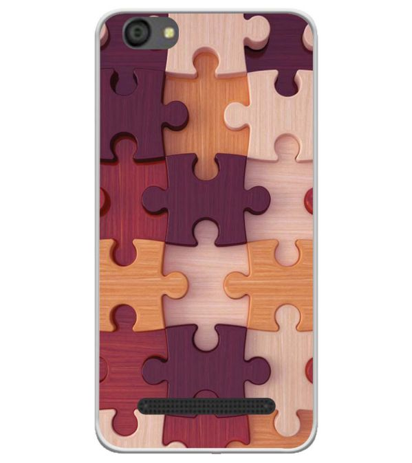 Wooden Jigsaw Soft Silicone Back Cover for LYF Flame 5