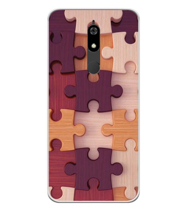 Wooden Jigsaw Soft Silicone Back Cover for Micromax Canvas Infinity Pro