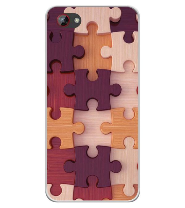 Wooden Jigsaw Soft Silicone Back Cover for Spice F301