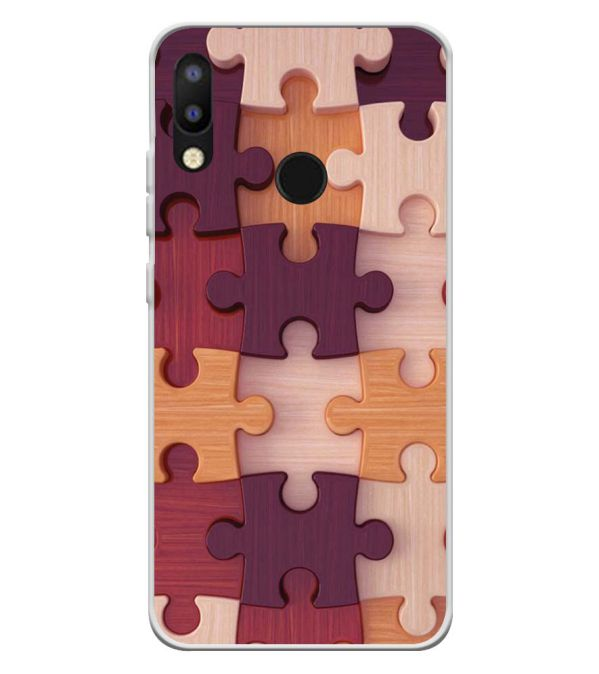 Wooden Jigsaw Soft Silicone Back Cover for Tecno Camon iAir 2+