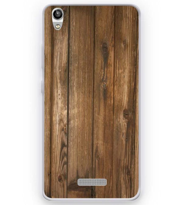 Wooden Pattern Soft Silicone Back Cover for Micromax Canvas Fire Q386