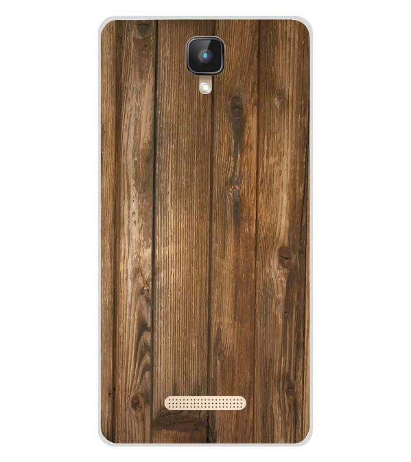 Wooden Pattern Soft Silicone Back Cover for Intex Aqua Lions 2 4G