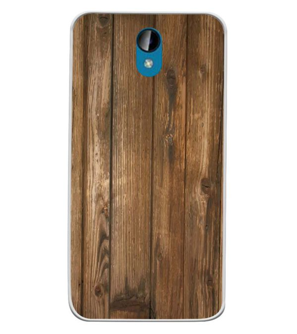 Wooden Pattern Soft Silicone Back Cover for Intex Lions 6