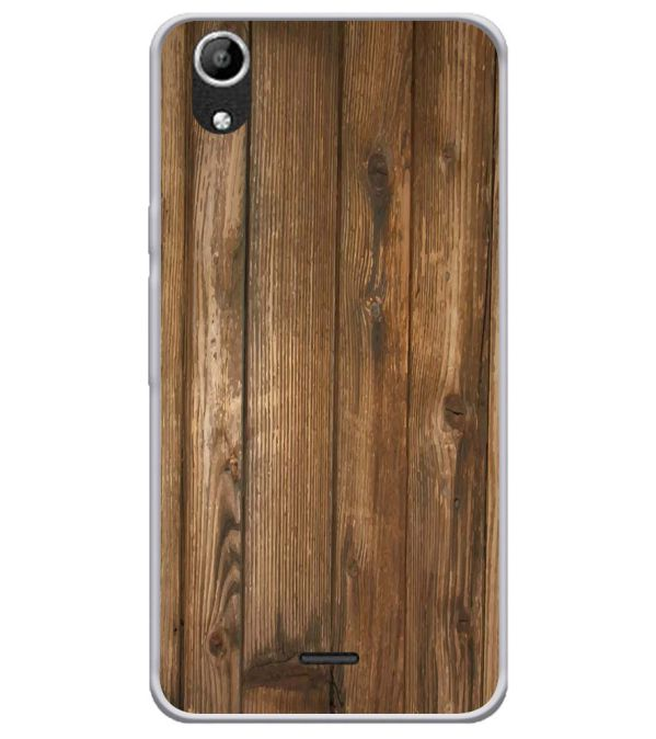 Wooden Pattern Soft Silicone Back Cover for Micromax Selfie Lens Q345