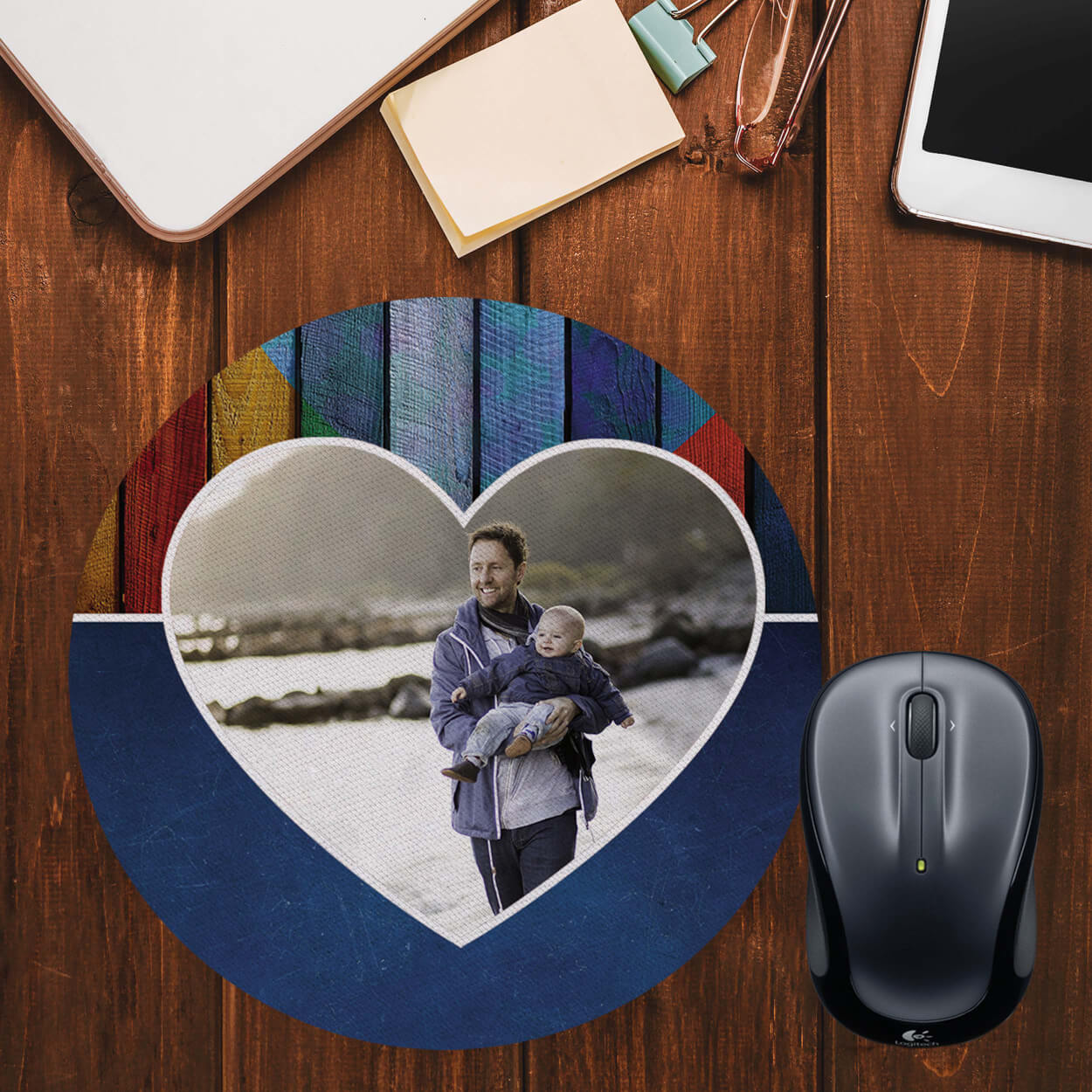 Woody Heart Photo Mouse Pad (Round)
