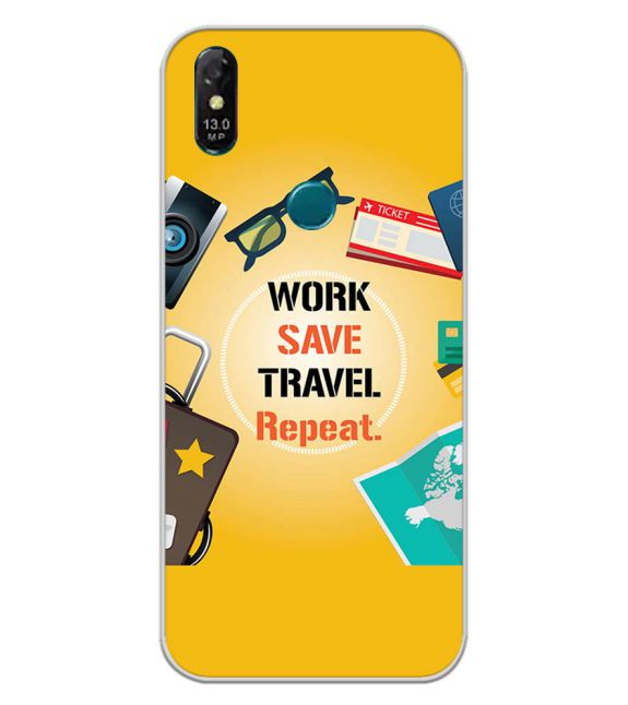 Work. Save. Travel. Repeat Back Cover for Coolpad Cool 3 Plus-Image3