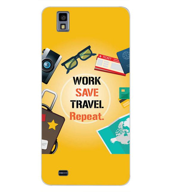 Work. Save. Travel. Repeat Back Cover for Gionee Pioneer P2M-Image3