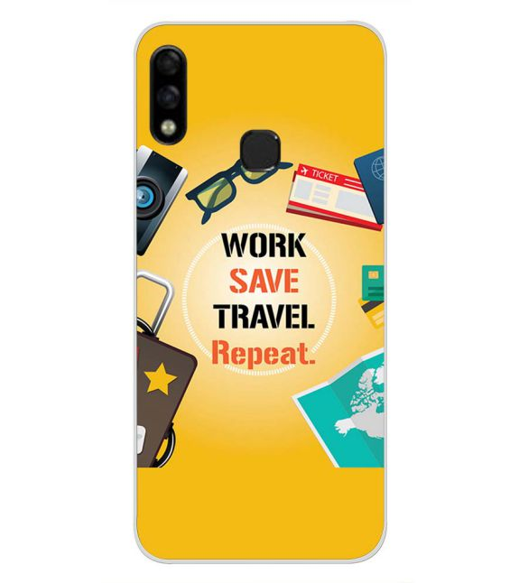 Work. Save. Travel. Repeat Back Cover for Infinix Hot 7 Pro-Image3