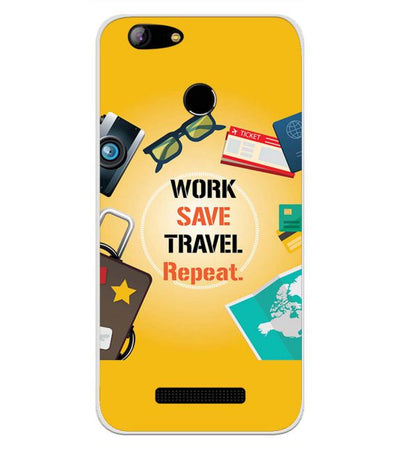 Work. Save. Travel. Repeat Back Cover for Intex Aqua Lions X1-Image3
