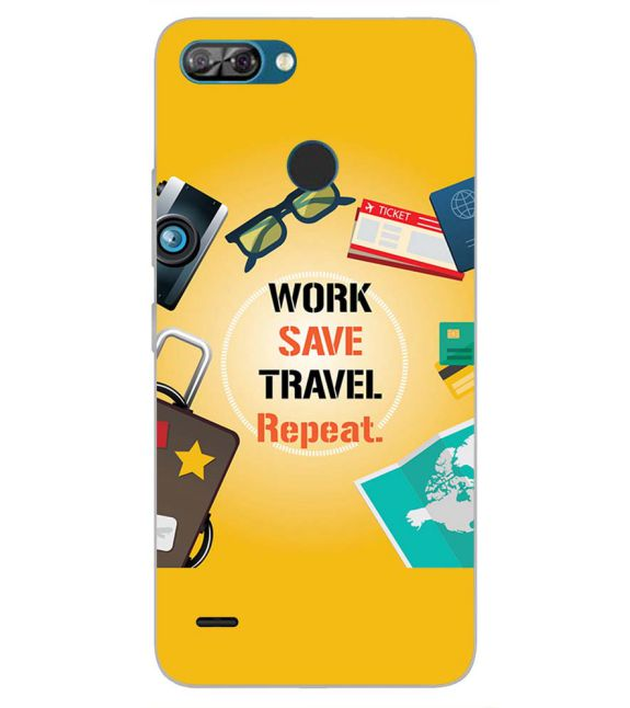 Work. Save. Travel. Repeat Back Cover for Itel A46-Image3