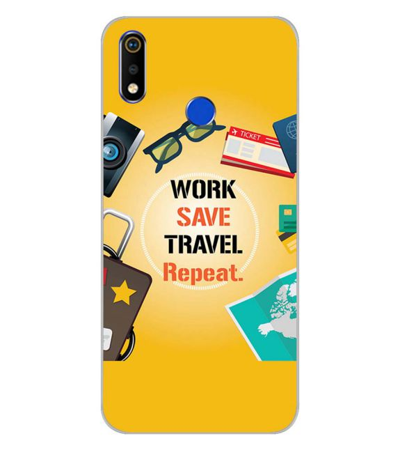 Work. Save. Travel. Repeat Back Cover for Realme 3i-Image3