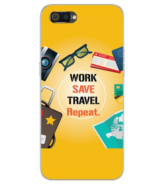 Work. Save. Travel. Repeat Back Cover for Realme C2-Image3