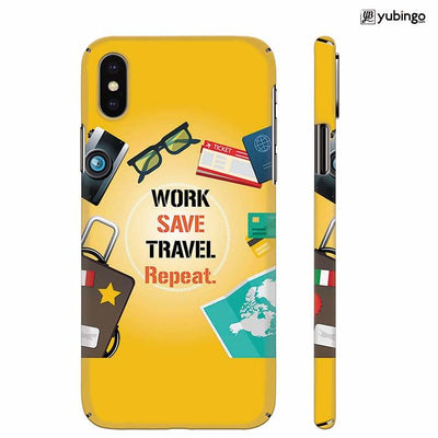 Work. Save. Travel. Repeat Back Cover for Apple iPhone X