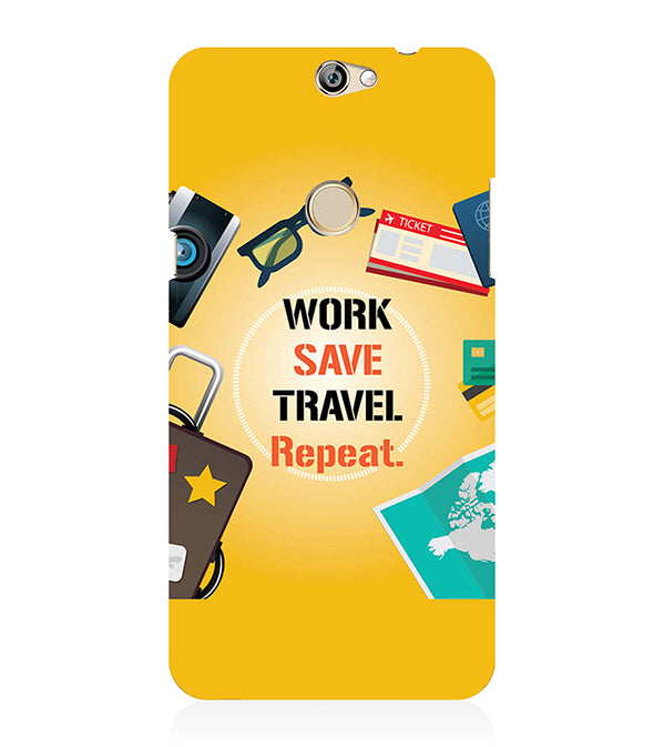 Work. Save. Travel. Repeat Back Cover for Coolpad Max