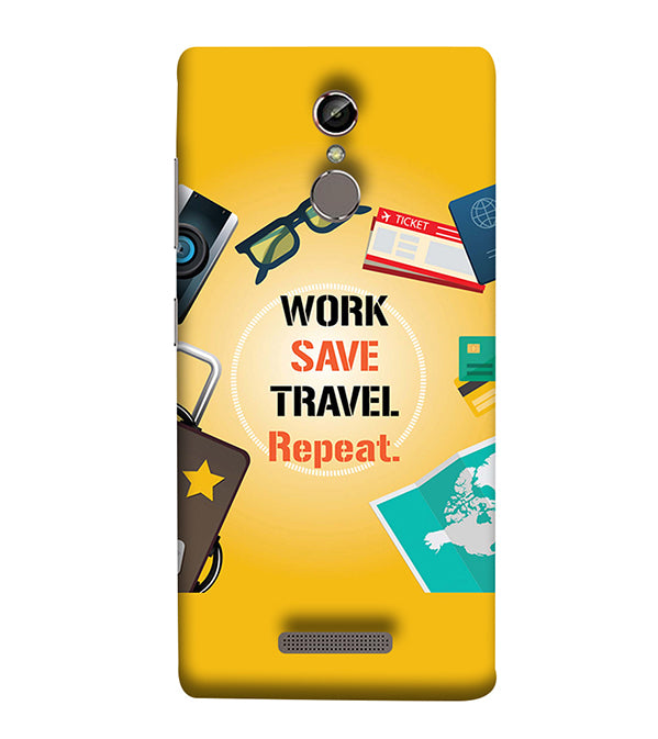 Work. Save. Travel. Repeat Back Cover for Gionee Elife S6S