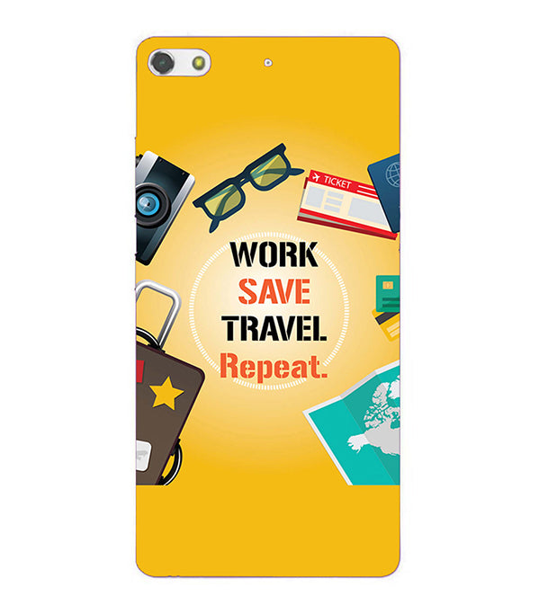 Work. Save. Travel. Repeat Back Cover for Gionee Elife S7