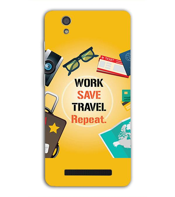 Work. Save. Travel. Repeat Back Cover for Gionee F103