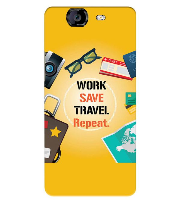 Work. Save. Travel. Repeat Back Cover for Micromax A350 Canvas Knight