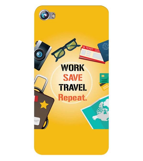 Work. Save. Travel. Repeat Back Cover for Micromax Canvas Fire 4 A107