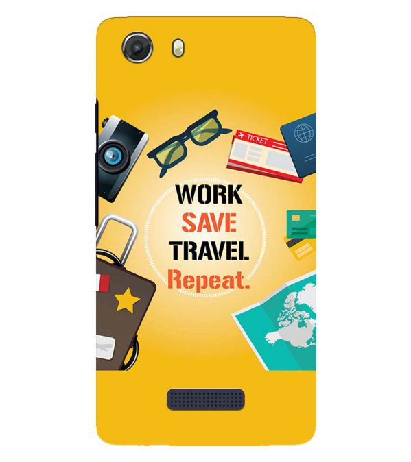 Work. Save. Travel. Repeat Back Cover for Micromax Q372 Unite 3