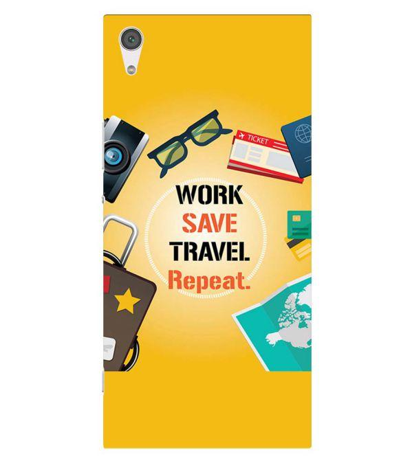 Work. Save. Travel. Repeat Back Cover for Sony Xperia XA1