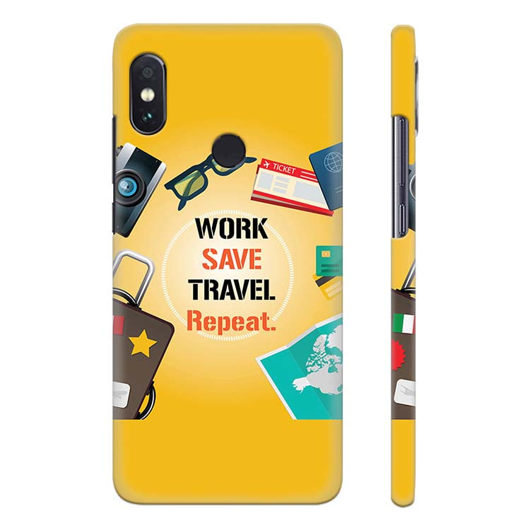 Work. Save. Travel. Repeat Back Cover for Xiaomi Redmi Note 5 Pro