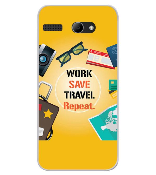 Work. Save. Travel. Repeat Soft Silicone Back Cover for Lava Iris Atom X