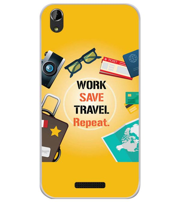 Work. Save. Travel. Repeat Soft Silicone Back Cover for Lava Iris Atom X1