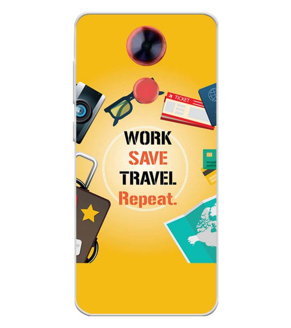Work. Save. Travel. Repeat Soft Silicone Back Cover for Comio X1