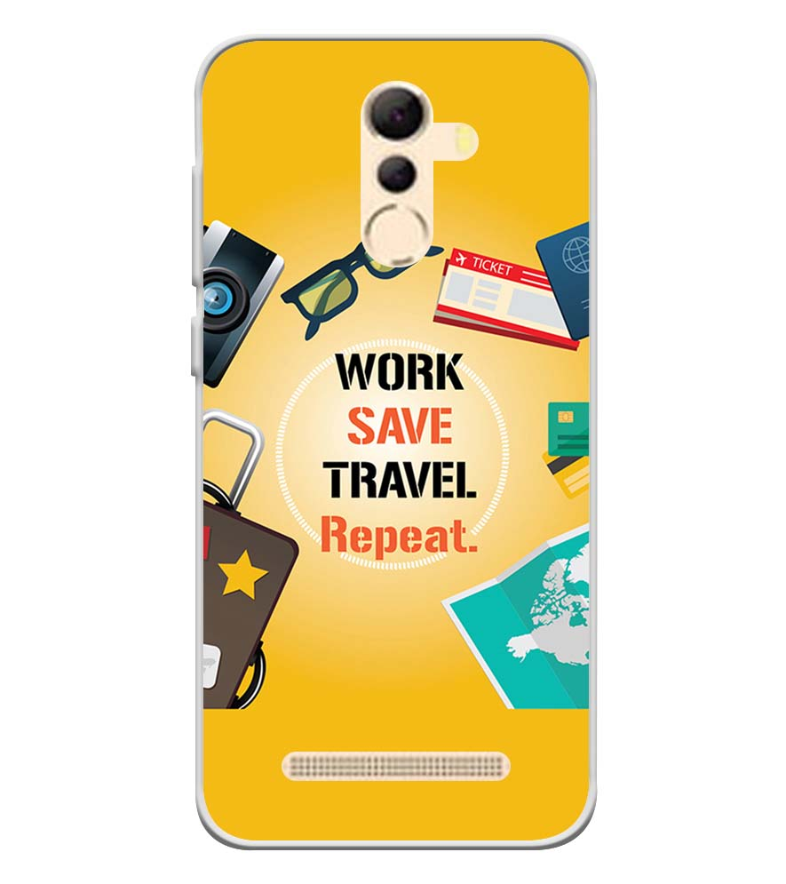 Work. Save. Travel. Repeat Soft Silicone Back Cover for Coolpad Mega 5A