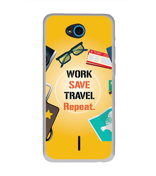 Work. Save. Travel. Repeat Back Cover for InFocus Bingo 21