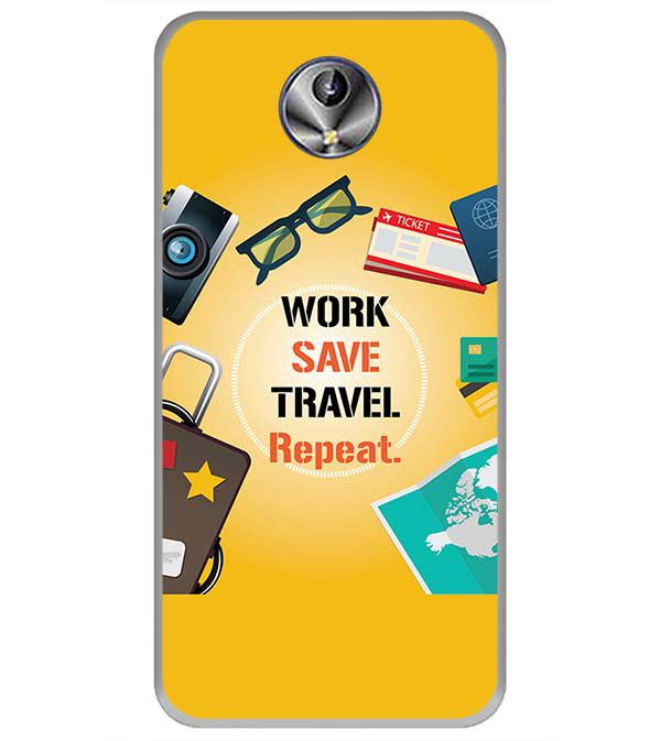 Work. Save. Travel. Repeat Back Cover for Intex Amaze+