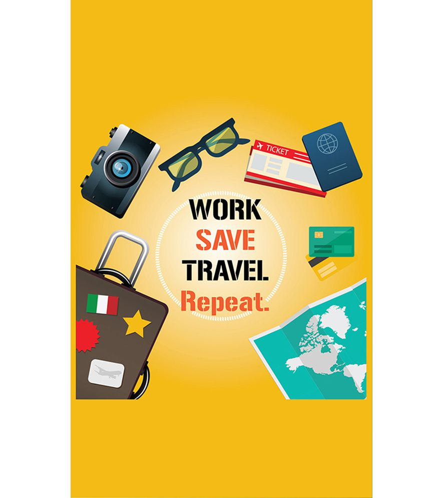 Work. Save. Travel. Repeat Back Cover for Intex Intx Trend Lite