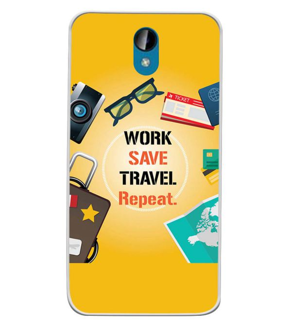 Work. Save. Travel. Repeat Soft Silicone Back Cover for Intex Lions 6