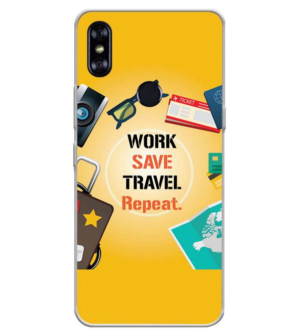 Work. Save. Travel. Repeat Soft Silicone Back Cover for Itel A62