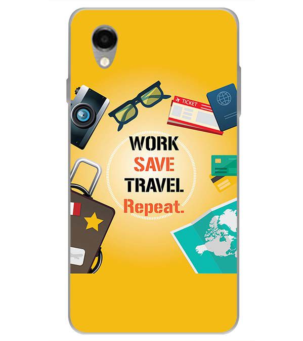 Work. Save. Travel. Repeat Back Cover for ITEL PWO Pro