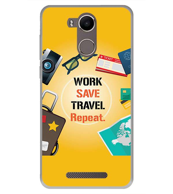 Work. Save. Travel. Repeat Back Cover for Karbonn K9 Kavach 4G