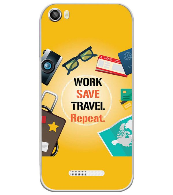 Work. Save. Travel. Repeat Soft Silicone Back Cover for Lava Iris X8