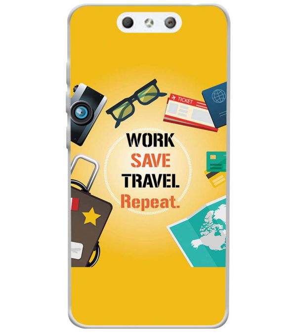 Work. Save. Travel. Repeat Soft Silicone Back Cover for LYF Earth 1