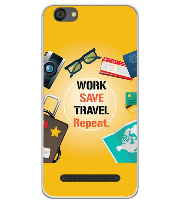 Work. Save. Travel. Repeat Soft Silicone Back Cover for LYF Flame 5