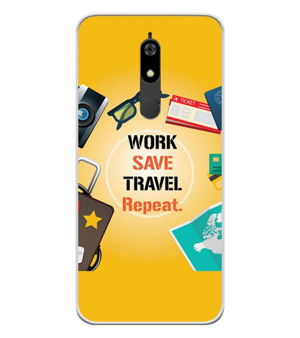 Work. Save. Travel. Repeat Soft Silicone Back Cover for Micromax Canvas Infinity Pro