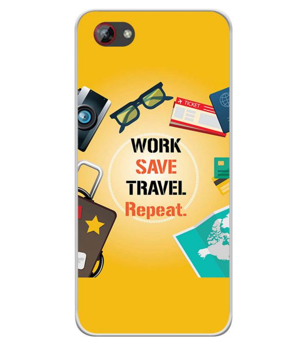 Work. Save. Travel. Repeat Soft Silicone Back Cover for Spice F301