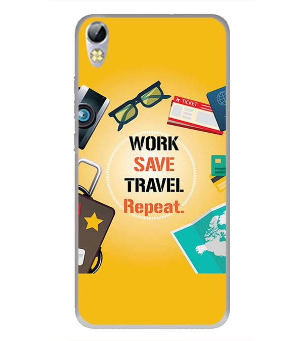 Work. Save. Travel. Repeat Back Cover for Tecno I3 Pro