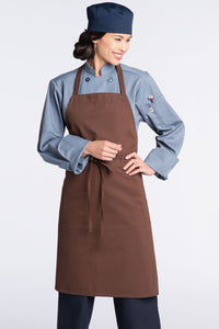 Brown Bib Apron (No Pockets)