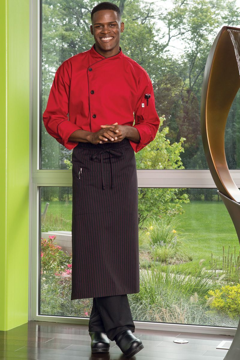 Black & Red Pinstripe Full Bistro Apron