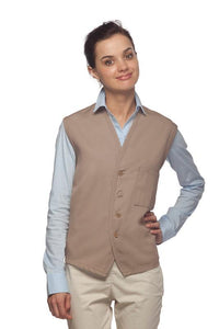 Khaki 4-Button Unisex Vest with 1 Pocket