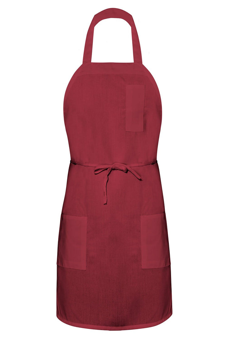 Burgundy Bib Apron (3 Pockets)