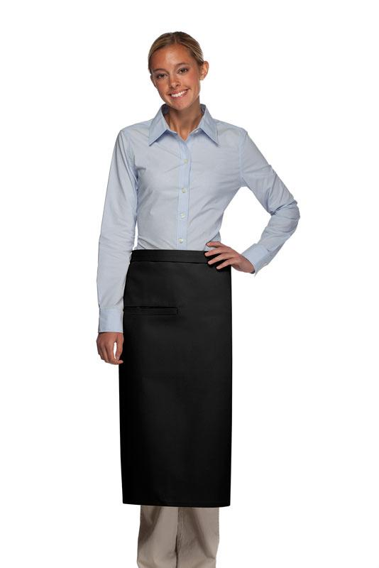 Black 1 Inset Pocket Full Bistro Apron