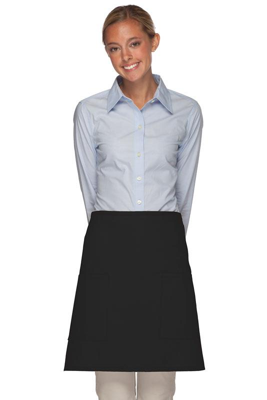 Black 2 Patch Pocket Half Bistro Apron