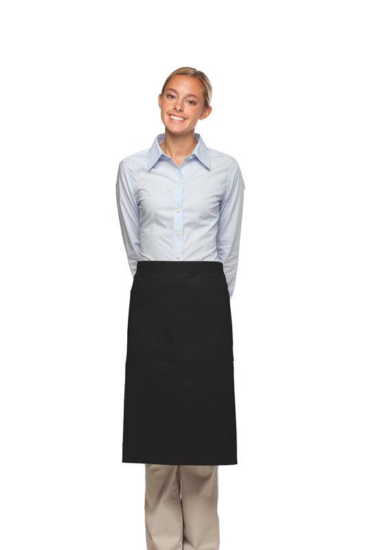 Black 2 Pocket Three Quarter Bistro Apron